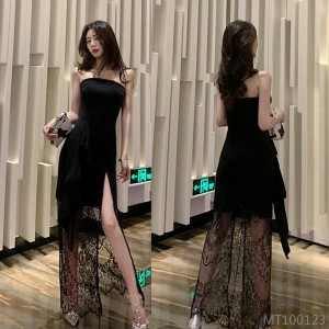 2020 new mid-length dress with lace tube top and split skirt
