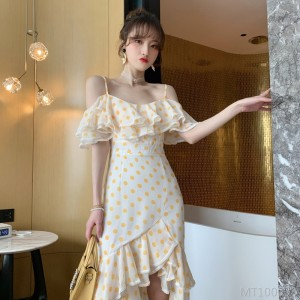 2020 new wave point ruffled word collar chiffon suspender dress