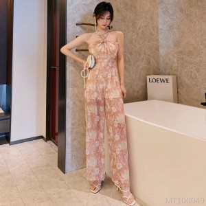 2020 new printed chiffon jumpsuit loose wide leg trousers casual