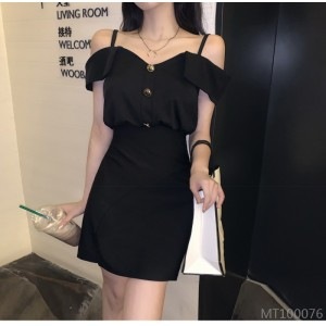 2020 new summer French style sling was thin waistband hip Hepburn black dress