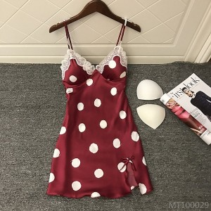 2020 new style sexy nightdress with chest pad gathers silky polka dot lace