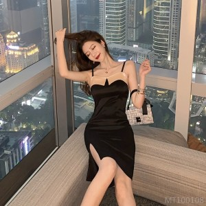 2020 new color matching suspender skirt slim package hip dress was thin