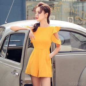 2020 new high waist wide leg shorts solid color jumpsuit