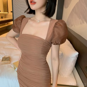 2020 new bubble short-sleeved short-sleeved body-covering slim dress hip dress H-shaped bubble sleeves