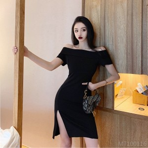 2020 new word collar solid color was thin black skirt dress commute high waist