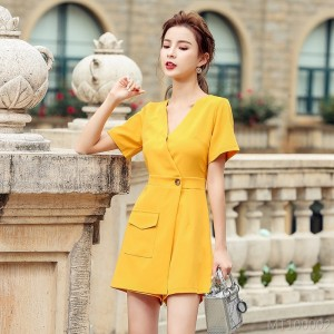 2020 new V-neck loose button jumpsuit female turmeric high waist wide leg pants