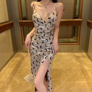 2020 new flower halter split open backless vacation sexy bottoming dress