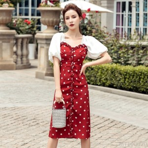 2020 new lantern sleeve red wave dot dress little sexy