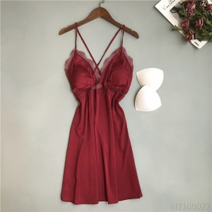 2020 new small chest strap nightdress thin section with chest pad ice silk pajamas