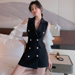 2020 new lapel double breasted lotus leaf sleeve suit shorts suit