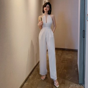2020 new hanging neck hollow dress jumpsuit chiffon jumpsuit suit