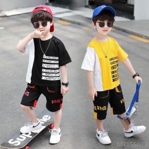 2020 new children's sports suit medium and small children's color matching short-sleeved t-shirt