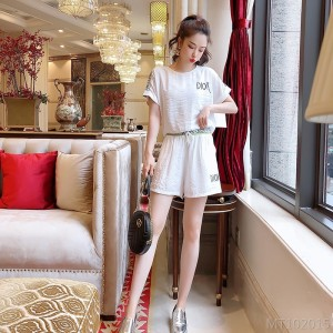 2020 New Heavy Industry Small Fresh Letter Waist Net Color Casual Shorts Set
