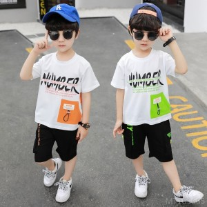 2020 new children's clothing boys summer children's sports suit knitted