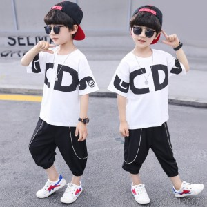 2020 new medium-sized children's alphabet short-sleeved t-shirt shorts