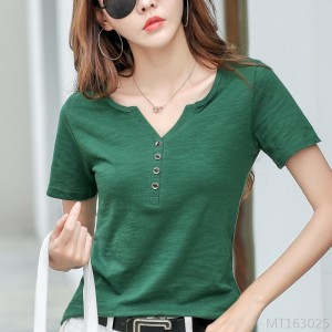 2020 new slub cotton short sleeve t-shirt simple bottoming top