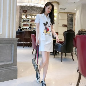 2020 new female casual sports collar dress one-piece hedging