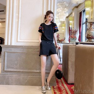 2020 New New Heavy Industry Color Bar Bat Sleeve Net Color Casual Shorts Set