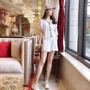 2020 new black and white letters LOVE net color casual shorts suit