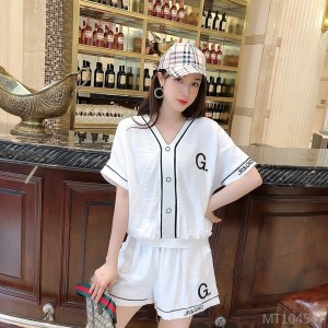 2020 New Heavy Industry Stripe Frame Bat Sleeve Pure Color Casual Shorts Set