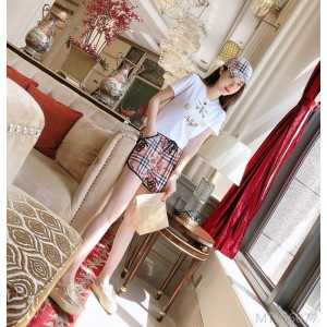 2020 new letter striped plaid T-shirt casual shorts suit