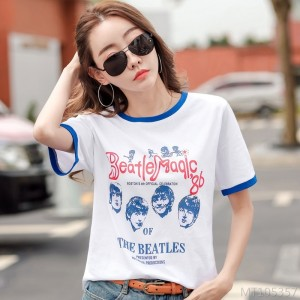 2020 new Korean version of loose cotton bottoming shirt tops ins tide