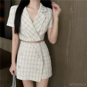 2020 new women's check short skirt + summer plaid small suit jacket two-piece suit