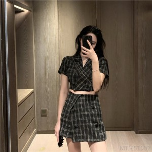 2020 new check short skirt + summer plaid small suit jacket two-piece suit