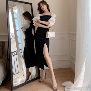 2020 new word shoulder lantern sleeve slim split dress