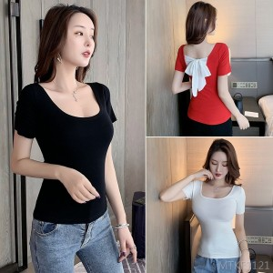 2020 new year was thin shirt top back bow T-shirt