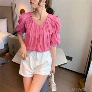 2020 new bubble sleeve V-neck pleated chiffon shirt