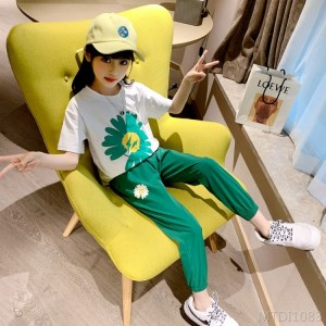 2020 new net red short-sleeved children's summer fashion nine-point pants two pieces