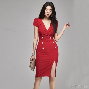 2020 new slim slim sexy split v-neck dress