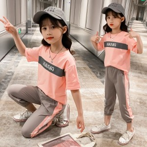 2020 new short-sleeved T-shirt suit, big boy summer cropped trousers, sports two-piece suit