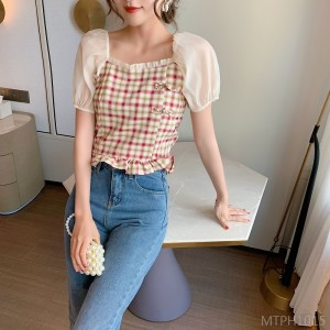 2020 new square collar plaid stitching chiffon short-sleeved top women's short section