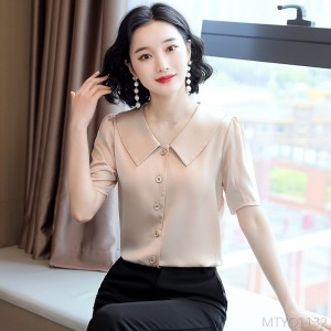 2020 New Shirt Square Collar Cardigan Top Design Short Sleeve Shirt