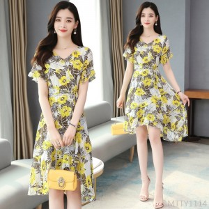 2020 new floral chiffon dress
