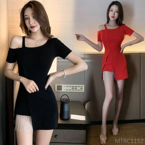 2020 new split tight skinny bag hip short sleeve dress