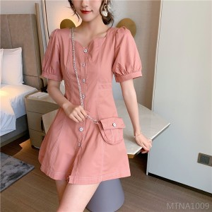 2020 new bubble sleeve denim dress with bag
