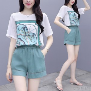 2020 new two-piece trousers loose chiffon top