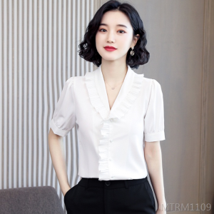 2020 new short-sleeved shirt V-neck chiffon shirt