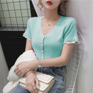 2020 new round neck buttoned short sleeve sweater top T-shirt