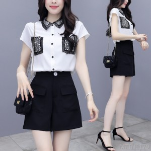 2020 new fashion slim shorts temperament chiffon two-piece suit