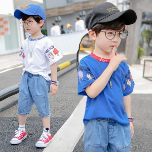 2020 new boy short-sleeved T-shirt suit