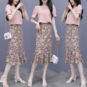 2020 new temperament floral dress two-piece suit