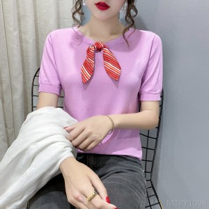 2020 new lace-up bowknot ice silk knitted top T-shirt
