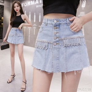 2020 new high waist fashion hot rhinestone tassel pants loose and thin A-line skirt