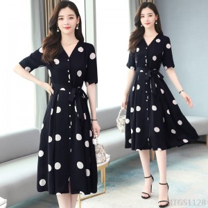 2020 New Chiffon Big Polka Dot Short Sleeve Dress