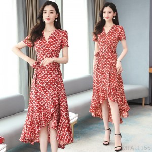2020 new chiffon floral dress red bohemian