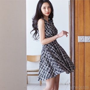 2020 new printed waist slimming vest skirt A-line skirt